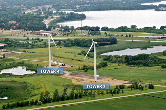 Tower 3 and 4 wind turbines from the air
