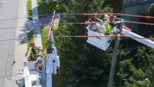 overhead electrical lines with workers